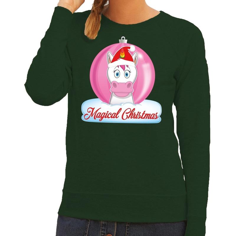 Foute Kersttrui Maat 80.Foute Kersttrui Eenhoorn Magical Christmas Groene Dames Sweater