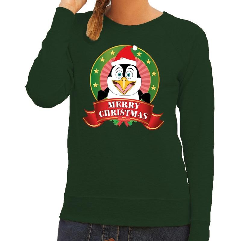 Kersttrui Vandaag Besteld Morgen In Huis.Foute Kersttrui Groen Merry Christmas Pinguin Voor Dames Kerst