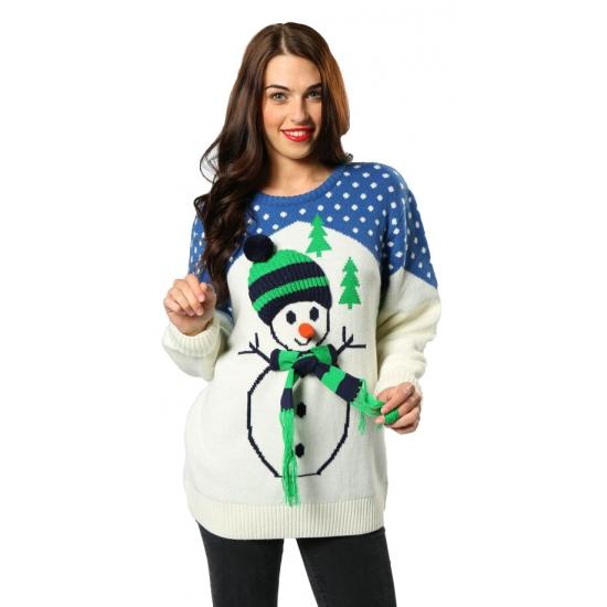 Grote Maten Foute Kersttrui.Kersttrui Met Sneeuwpop Voor Volwassenen Kerst Truien Dames